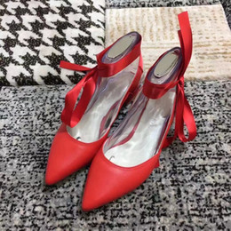 Wholesale Wedding Dress Brand Names - New Design Name Brand 2017 Hot Selling Girl Nude Shoes Red Pink Black White Genuine Leather Sexy Pointed Toe Slingbacks Lady Shoes Autumn