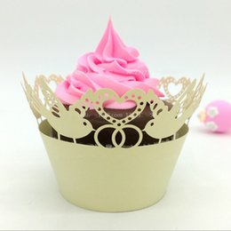 Wholesale Bird Cupcake Wrappers - Wedding Cupcake Box Love Bird Birthday Cupcake Wrapper Pearl Paper Wed Birthday Baby Shower Party Box Cupcake Free Ship