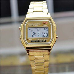 Wholesale Square Silicone Digital Watch - 2017 New Fashion gold silver Silicone Couple Watch digital watch square military men  women dress sports watches whatch women