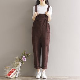 Wholesale Corduroy Overalls Women - Wholesale- 2017 New Spring and Summer Women Loose Corduroy Jumpsuits Rompers with Pockets Female Suspenders Plus Size Overalls