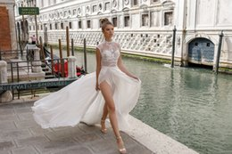 Wholesale Cheap Bodices - Julie Vino A Line Wedding Dress Sexy High Split Cheap Deep V Neck Illusion Lace Applique Bridal Gowns Robe De Mariée Custom Made