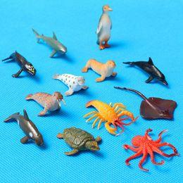 Wholesale Plastic Animal Figures Set - 12pcs set Plastic Marine Animal Model Toy Figure Ocean Creatures Dolphin Kids Toy Best Model Gift For Children Kids