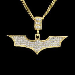 Wholesale Men Silver Cuban Link Chain - Men Hip hop Batmen Necklace Pendant Gold Silver Plated Clear Bling Micro Crystal Top Quality Jewelry With Cuban Chain