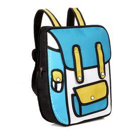 Wholesale Bags Style 2d - 3D Jump Style Korea Comic Student School Bags Creative Cartoon 2D Drawing Designer Backpacks Women Travel Bags Laptop Bags Brand Rucksack