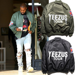 Wholesale American Bomber - KANYE WEST MA1 BOMBER Jackets Men's Autumn Winter Motorcycle Pilot Coat Couple Jacket American Civil War Flag hip hop Jacket JC05