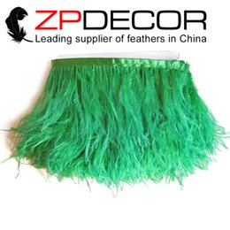 Wholesale Ostrich Feathers Trimming - ZPDECOR Export Factory Most Popular 10-15cm(4-6 inch)Eco-friendly Dyed Beautiful and Unique Green Ostrich Feather Trim for Clothing