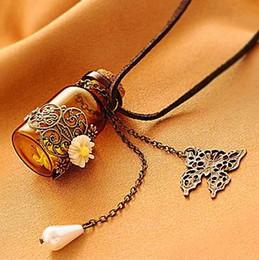 Wholesale Bottle Necklaces Corks - Necklaces Pendants Long retro leather cord sweater Chains Necklaces Wooden cork carved wishing bottle necklace