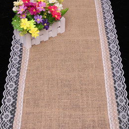 Wholesale Lace Doilies Table Runner - Burlap Table Runner Wedding Deco 30cm X 180cm Linen Table Runner Lace Doily Table Runner Natural Jute Home Party Decoration