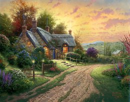 Wholesale Oil Canvas Reproduction - Thomas Kinkade Landscape Oil Painting Reproduction High Quality Giclee Print on Canvas Modern Home Art Decor TK084
