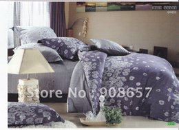 Wholesale Grey Pattern Duvet Cover - new 500 thread count grey purple flower floral pattern cotton full queen bedding duvet covers sets 4pc quilt cover flat sheet #H