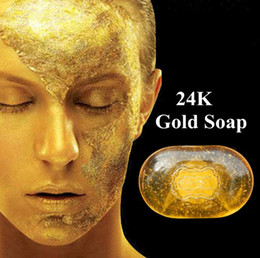 Wholesale Natural Soaps - Natural Active 24K Gold Soap Skin Whitening Facial and Body Bath Soap Anti Wrinkle Soap Anti Aging Soap Healthy Soaps