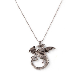 Wholesale Dragon Ring Necklace - Lord Of The Rings The Hobbit 2 Smaug battle Dragon Pendant Necklace free shipping