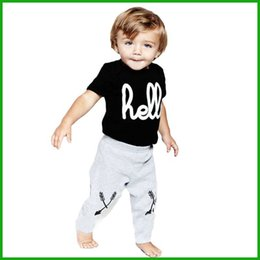 Wholesale Leopard Print For Baby Clothes - New Arrival 2016 Baby boy clothing set newborn clothes set for boys high quality cotton T-shirt + Pant suit hello letters print
