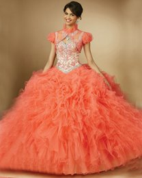 Wholesale Lime Green Short Ball Gown - Lime Coral Fuchsia vestidos de quinceaneras 2016 Spaghetti Straps Open Back Quinceanera Dresses Ball Gowns 2016 New