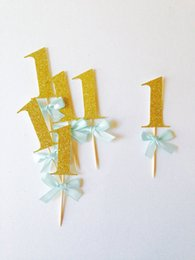 Wholesale Wholesale Ribbons Cupcakes - Christmas Gold glitter & blue ribbon Cupcake Toppers personalized number baby bridal shower birthdayocearn wedding cake topper decoration