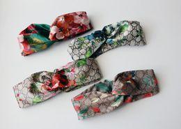 Wholesale Regular Hair - 2017 top quality silk ribbon elastic headband Geranium cross hair hot selling luxury brand