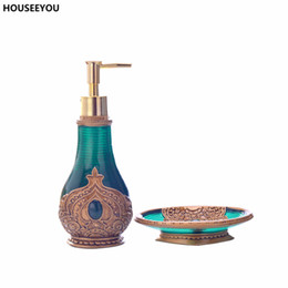 Wholesale Box Dispenser - Beautiful Morocco Decoration Resin Exquisite Bathroom Accessories Set Soap Lotion Dispenser Soap Dish Box High Quality 2pcs  Set