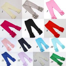 Wholesale ruffle leggings - Thanksgiving Christmas girls stripe ruffle pants Baby Warmer Leggings Tights kids Trousers cotton Pants 28 colors C2831