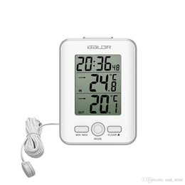 Wholesale indoor outdoor thermometer - New LCD Digital Thermometer Wired Sensor Indoor Outdoor Home Probe Temperature Trend Meter Snooze Table Watch Alarm Clock