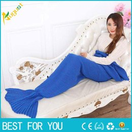 Wholesale Knitting Yarns Crochet Threads Wholesale - Yarn Knitted Mermaid Tail Blanket Handmade Crochet Mermaid Blanket Kids Throw Bed Wrap Super Soft Sleeping Bed new hot