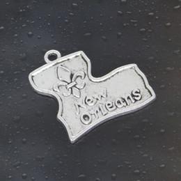 Wholesale Men Pandora Bracelet - Come on Guys 42pcs FLEUR DE LIS new orleans Charms Pandora Antique Silver Alloy Jewelry Fit For Bracelet Pendant Necklace Man&Woman 24*23mm