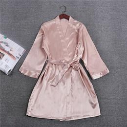 Wholesale Dresses Xx - Wholesale- New Silk Wedding Kimono Robe Bathrobe Women Rayon Bridesmaid Robes Sexy Bride Robes Satin Robe Ladies Dressing Gowns M L XL XX