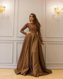 Wholesale Dresse Women - Brown Lace Long Sleeve Elegant Mother Of The Bride Dresse Royal Arabic Party Prom Dresses Women Long Mother's Evening Gowns
