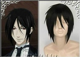 Wholesale 100 New High Quality Fashion Picture wigs gt gt Black Butler Sebastian Michaelis Short Black Cosplay Wig Hair