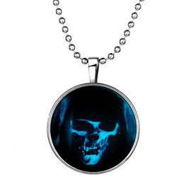 Wholesale Human Heart Halloween - Trade Luminescence Human Skeleton Head Pendant Pendeloque Cut Necklace Woman Time Jewel Stainless Steel Jewelry Halloween Necklaces