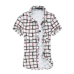 Wholesale 6xl Mens Dress Shirt - Wholesale-Red Plaid Mens Shirt 100% Mercerized Cotton 2016 Mens Dress Shirts Men Clothing Social Casual Shirt Male Brand Chemise Homme 6XL
