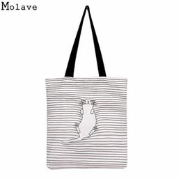 striped cotton canvas tote bags Coupons - Wholesale- Shoulder Shopping Bags Tote Women Beach Bags Catoon Cute Striped Napping Cat Cotton Canvas Handbags Female Single bag Jan22