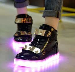Wholesale Couples Cotton Gift - 8colors shoe USB charing LED luminous shoes women man glowing high help sheet metal light shoes black white couple shoes gifts ems