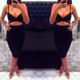 Wholesale Red Cut Out Bodycon Dress - 2016081710 2016 New Ladies Women Sleeveless Sexy False 2 Piece Set Bandage Cut Out Bodycon Dress Women White Black Club Summer Dress