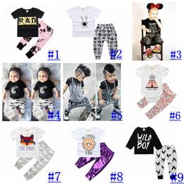 Wholesale penguin clothes - Newborn Cotton Cartoon outfit Boy Girl Summer Autumn short & long sleeve top+Pants 2pcs Set penguin Letter print INS Clothing Sets 16styles