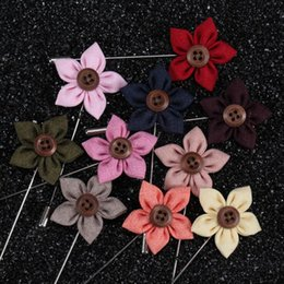 Wholesale Asian Ornament - 20 Color Handmade Button Flower Corsage Exquisite Boutonniere Stick Brooch Pin Women Men Wedding Christmas Party Ornament Lapel Brooches Pin