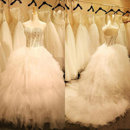 Wholesale luxury royal crystal wedding dresses - Modest Sweetheart Ruched Tiered Corset Long Bridal Gowns Luxury Crystal Beaded Tulle Ball Gown Wedding Dresses vestido de noiva barato