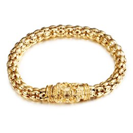 Wholesale Dragon Leather Bracelets - New Arrival Charming Men's Fashion Jewelry Gold Stainless Steel popcorn Chain Dragon Design magnetic buckle Bracelet 8.8''