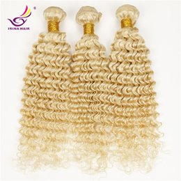 Wholesale Jerry Wave 14 Inch - Blonde Brazilian Deep Curly Hair Extensions 7a 100% Human Hair Weave Tight Kinky Curly Hair Deep Wave 3pcs Jerry Curl #613