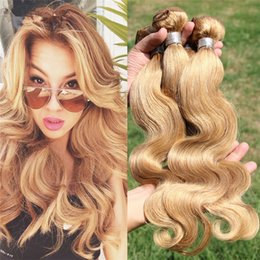 Wholesale Extensions 27 - New Arrival #27 Pure Clolor Hair Weaves Honey Blonde Unprocessed Brazilian Human Hair 3 Bundles Lot Body Wave Hair Extensions