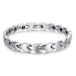 Wholesale Finish Bangle Silver - Fashion Silver Bracelet For Women Matt Finish Polish Stainless Steel Bracelets Leaf Shape Bracelets&Bangle Power Energy Jewelry Accessories