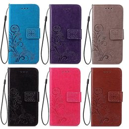 Wholesale Iphone Stylish Wallet Covers - Stylish embossed flip wallet leather cover mobile phone stand holder credit card case back shell for iPhone 7 6s plus samsung s7 s6