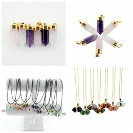 Wholesale Pendant Gold Findings - Gold Plated Hexagonal Column Quartz Crystal Charms Pendant Stone Bead Jewelry Finding Natural Agate Jewelry For Women Girl