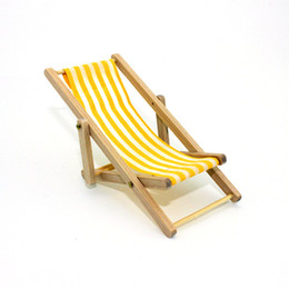 Wholesale Beach Chair Accessories - 1:12 Miniature Dollhouse Foldable Wooden Beach Chair Chaise Longue Toys with Stripe Red Blue - House Outdoor Furniture Accessories