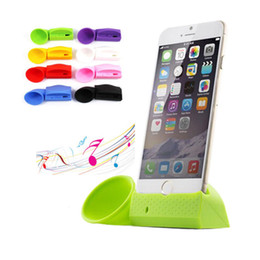 Wholesale Iphone Stand Amplifier Speaker - 2016 Newest Mini Speaker Portable Silicone Horn Stand Holder Amplifier Speaker Hands Free Loudspeakers For Apple iPhone 6 5 5S 5C 4 4s