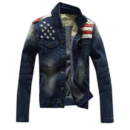 Wholesale Asian Clothing Men - 2016 New USA Design Mens Jeans Jackets American Army Style Man's Jeans Clothing Denim Jacket for Men Plus Asian Size XXXL