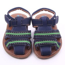 Wholesale Toddler Summer Sandals Boys - New Outdoor Toddler Boy Walkers Sandals Crashworthy Toe Cap Soft PU T-tied Bands Upper with Colorful Lines Rubber Hard Sole Baby Sandals