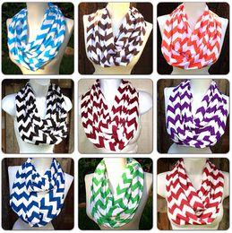 Wholesale Knit Chevron Scarves Wholesale - Chevron Zig Zag Stripe Jersey Knit Infinity Cowl Scarf Cotton Scarves Knit Striped Scarf Cotton Neckerchief 180*25cm Voile Stripe Ring Scarf