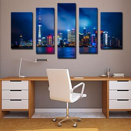 Wholesale Amesi Landscape Painting Beautiful Impressionist Shanghai Night Scene Oriental Pearl Pictiure Wall Decor Canvas Oil Paintings