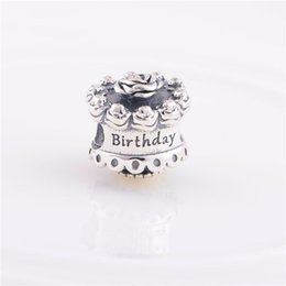 Wholesale Happy Birthday Bracelet - 2017 Summer New Collection 925 Sterling Silver DIY Jewelry Happy Birthday Cake Thread Charms Fits Famous Brand Charm Bracelets Making HB409