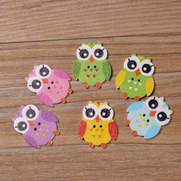 Wholesale Korean Style Owl Clothes - 100Pcs=1lot OWL Button Wooden Cartoon Button DIY Wooden OWL Button for Clothing Cushion DIY Cute Wooden Button